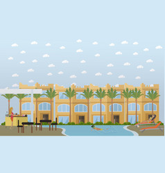 Hotel in egypt concept flat style design vector