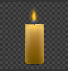 big candle with fire set on transparent background vector image
