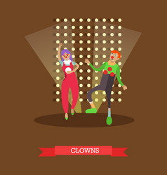Clowns in circus vector