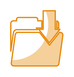Folder file with arrow download isolated icon vector