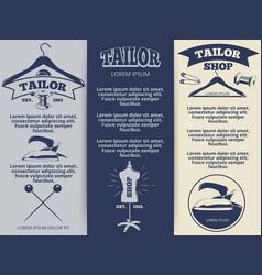 Vintage tailor shop flyers template design vector
