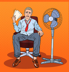 Pop art businessman sweating in warm office vector