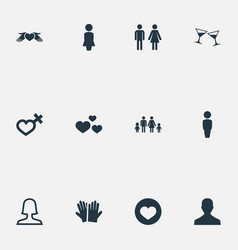 Set of simple couple icons elements amour female vector