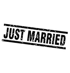 Square grunge black just married stamp vector