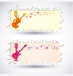 Two colorful music banner set vector