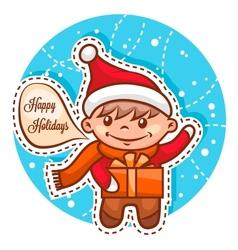 Cute little santa boy vector