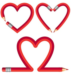 Red pencil hearts set vector
