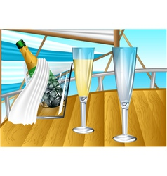 Champagne on sail boat vector