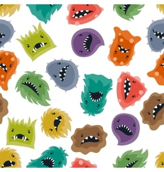 Seamless pattern with little angry viruses and vector