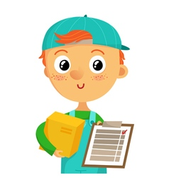 Young delivery man holding a box and clipboard vector