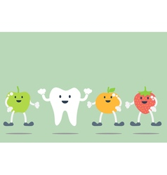 Teeth and fruit best friend vector