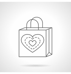 Valentines Day shopping bag flat line icon vector image