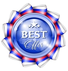 Blue best offer badge vector