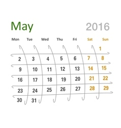 May 2016 calendar funny grid vector image