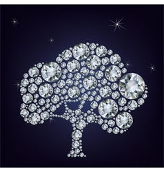 Fairy tail tree made from diamonds vector