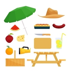 Set of objects for picnic vector