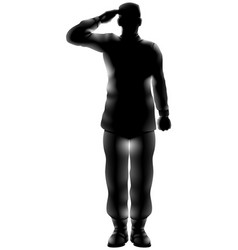 american soldier saluting silhouette vector image