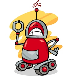 angry robot cartoon vector image
