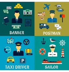 Banker taxi driver postman and sailor icons vector