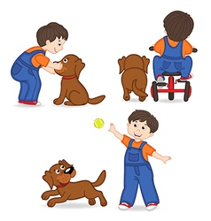 Boy playing with dog vector