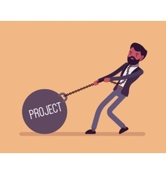 Businessman dragging a weight project on chain vector