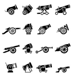 cannon retro icons set simple style vector image