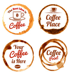 Coffee stains logos and labels set vector