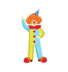 Colorful friendly clown in party hat classic vector