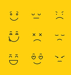 Different schematic face emotions lineart concept vector