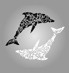 Dolphin floral ornament decoration vector image vector image