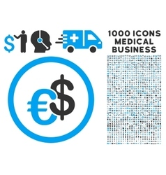 Euro and Dollar Currency Icon with 1000 Medical vector image