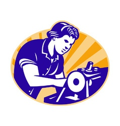 Female Machinist Seamstress Worker Sewing Machine vector image