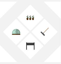 Flat icon farm set of harrow barbecue hothouse vector