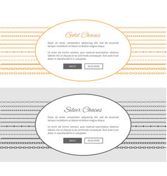 Gold and silver chains samples vector