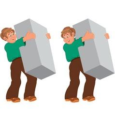 Happy cartoon man standing in green shirt and vector image vector image