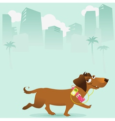 Happy dog walking in the city vector image vector image