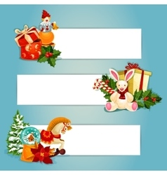 Holiday toys banners set design vector image vector image