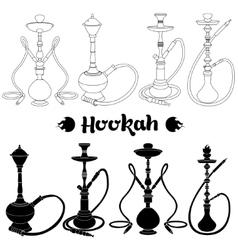 Hookah silhouette set vector
