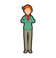 isolated standing young man vector image vector image