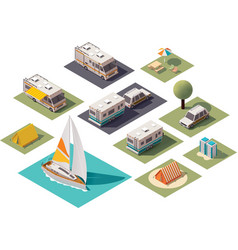 Isometric camping icons vector