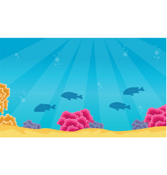 Landscape of fish and coral reef on ocean vector