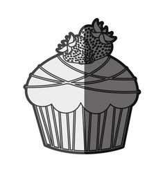 Monochrome silhouette cupcake with two strawberry vector