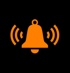 Ringing bell icon orange icon on black background vector