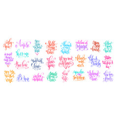 Set of 25 hand lettering inscription to valentines vector