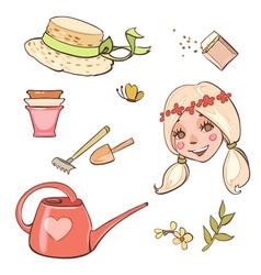 Set of flower girl hats garden tools vector