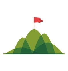 Silhouette mountain with red flag vector