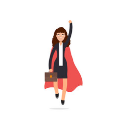 Superhero businesswoman in red cloak character vector