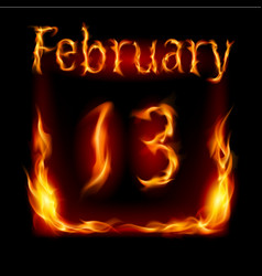 Thirteenth february in calendar of fire icon on vector