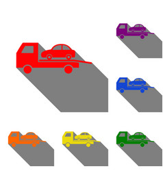 Tow car evacuation sign set of red orange vector