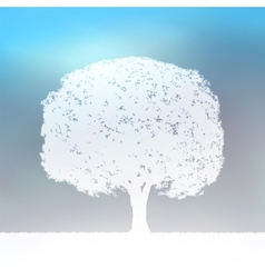 Tree silhouette blue and white landscape EPS 8 vector image vector image